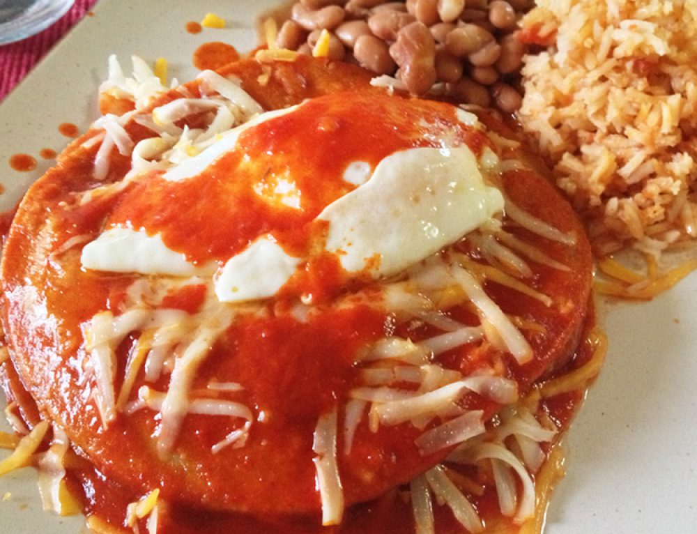 Stacked New Mexico Red Chile Cheese Enchiladas